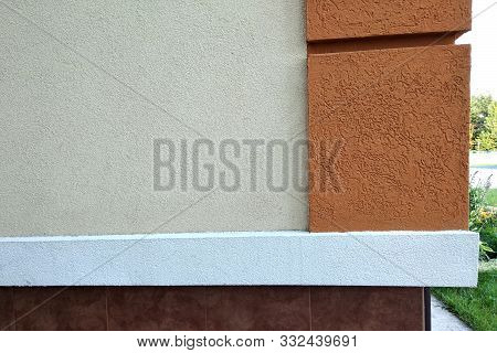 Close Up Detail Of Buiding Exterior Facade With Decoration Elements.