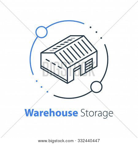 Warehouse Services, Distribution Center, Wholesale Concept, Supply Chain, Vector Thin Line Icon