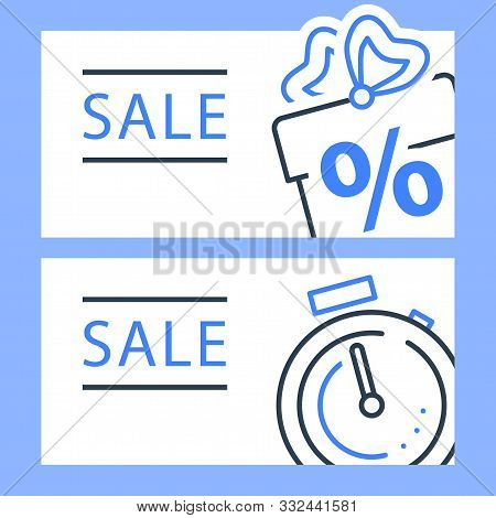 Gift Box And Stopwatch, Sale Horizontal Banner, Loyalty Program, Earn Points, Win Present, Redeem Bo