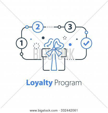 Loyalty Program, Win Special Prize, Surprise Gift, Present Box, Earn Points, Redeem Bonus, Vector Li