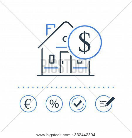 Mortgage Loan Refinance, Low Interest Rate, Buy House, Real Estate Ownership Concept, Payment Instal