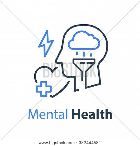 Mental Health, Human Head And Cloud, Psychological Help, Psychiatry Concept, Therapy Course, Cogniti