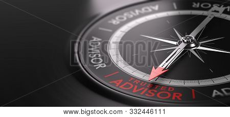 3d Illustration Of An Abstract  Compass Over Black Background With Needle Pointing The Text Trusted
