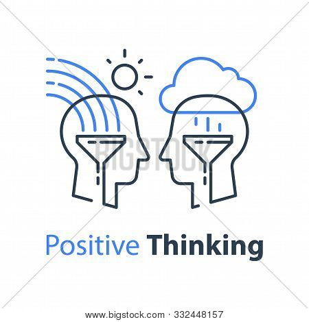 Positive Thinking, Cognitive Psychology Or Psychiatry Concept, Two Human Heads, Emotional Intelligen