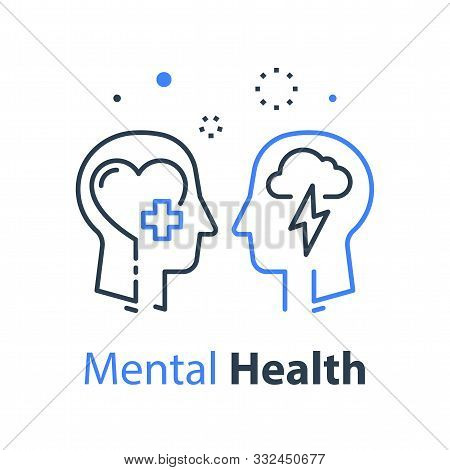 Human Head Profile And Cloud Lightning Line Icon, Cognitive Psychology Or Psychotherapy Concept, Men