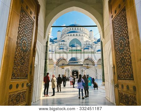 October 30, 2019. Istanbul Camlica Mosque. Turkish Camlica Camii. The Biggest Mosque In Turkey. The