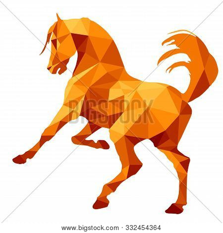 Amber Color, Prancing Horse, Vector-isolated Image On A White Background In The Style Of