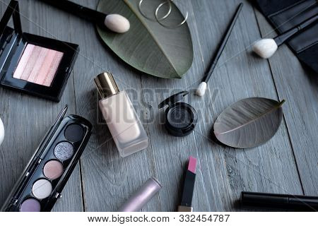 Luxury Makeup Beauty Products With Beige Foundation, Mix Colored Eyeshadow Palette, Natural Brushes,