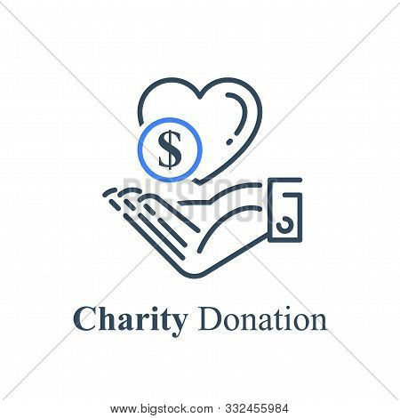 Hand And Heart, Charity Fund Concept, Financial Help, Donation Money, Vector Line Icon