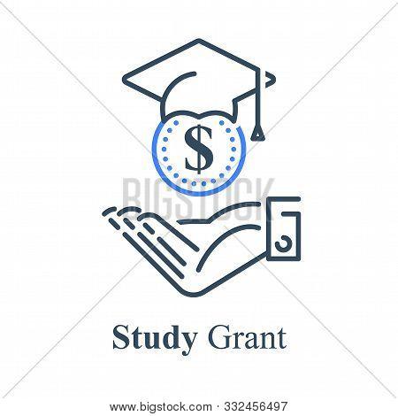 Human Hand And Graduation Cap, Study Grant, Scholarship Concept, Financial Help, Education Loan, Uni