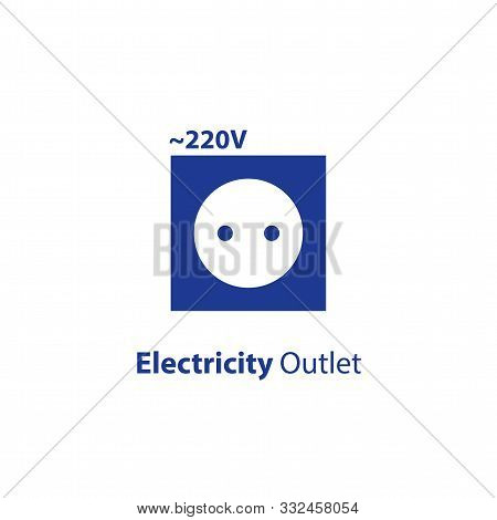 Electricity Outlet, 220 Voltage Point, Socket Flat Icon, Vector Illustration