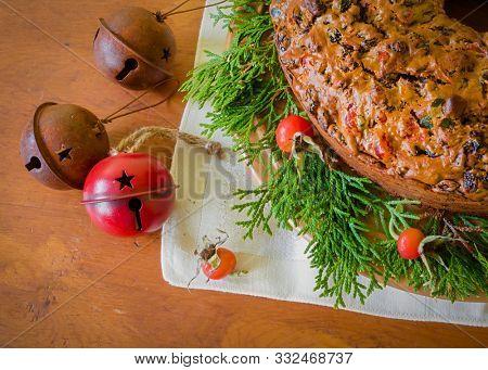 A traditional homemade Christmas fruitcake.