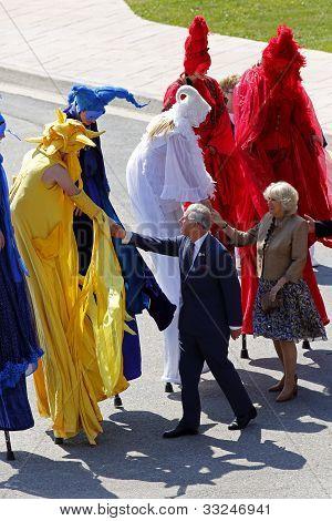 Prince Charles Camilla Stilt People Saint John