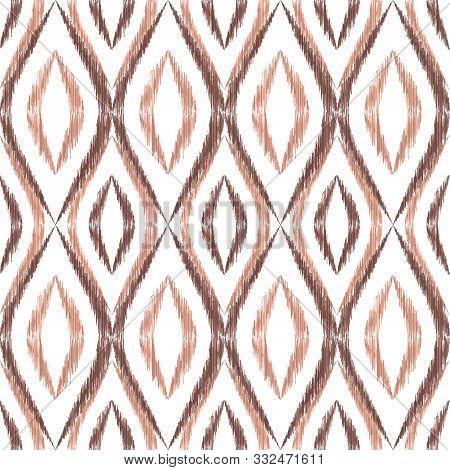 Ikat Ogee Seamless Vector Pattern Illustration. Ethnic Fabric Print Geometric Ikat Pattern. Ogee Sea
