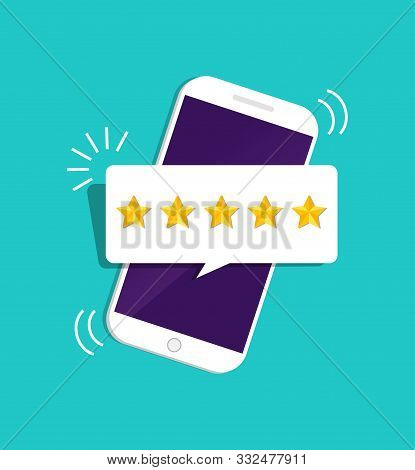 Quality Stars Rating. Customer Review With Gold Star Icon In Mobile. 5 Stars Assessment Of Customer