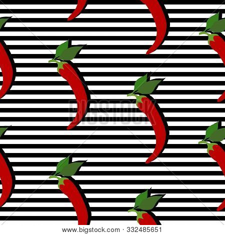 Seamless Background With Stripes And Red Chili Pappers With Dark Shadow. Vector Illustration Design