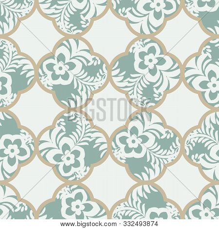 A Seamless Vector Geometric Quatrefoils Pattern With Botanical Motifs In Muted Green. Classic Surfac