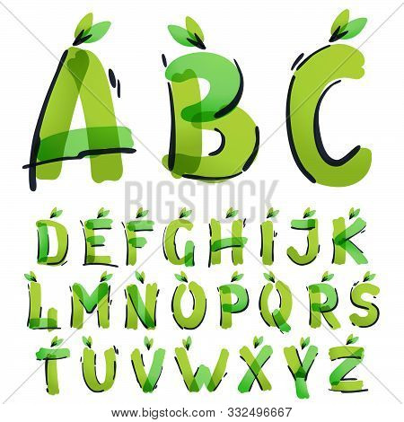 Ecology Alphabet With Green Leaves Handwritten With A Felt-tip Pen. Vector Green Marker Font Can Be