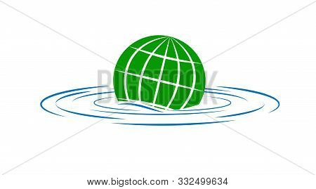 Earth Sinks Into The Water. The Theme Of Environmental Security And Global Warming. The Logo Or Icon