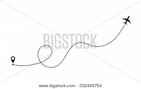 Aircraft Route Dotted Lines. Tourism And Travel. Tourist Route By Plane. Tracks Traveler Dotted Line