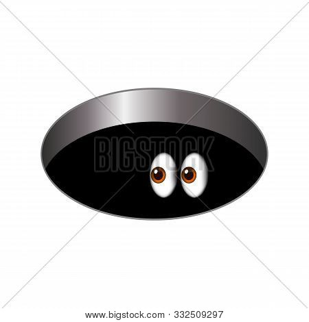Cartoony Big Scared Eyes Looking Out Of A Dark Hole