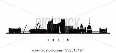 Turin Skyline Horizontal Banner. Black And White Silhouette Of Buenos Turin, Italy. Vector Template
