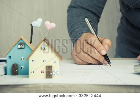 Businessman Signature In Documents Graph Chart Checking Document In Property Investment Project On D
