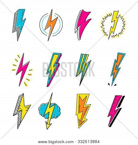 Lightnings Color Cartoon Retro Vector Illustrations Set. Pop Art Thunderbolts Isolated Pack. Electri