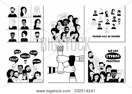 Multinational Group Of People Together Vector Social Media Banner Templates Set. Unity In Diversity,