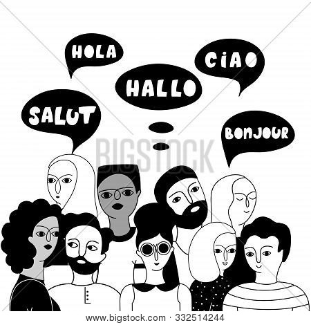 Multilingual Group Of People Together Vector Illustration. Hello In English, French, Spanish, Italia