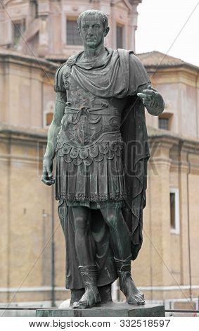 Statue Of Julius Caesar Also Called Giulio Cesare In Rome Italy Was A Populist Roman Dictator, Polit