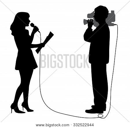 News Reporter Anchor Woman With Microphone And Cameraman Making Reportage. Journalist Speaker Newsca