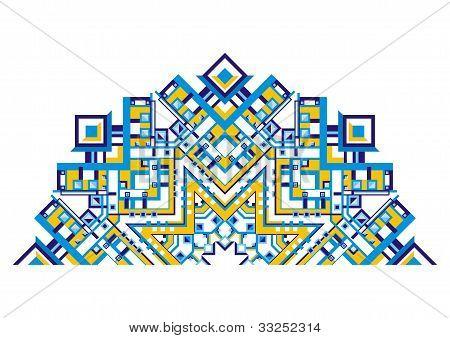 Decorative fan with a geometric pattern