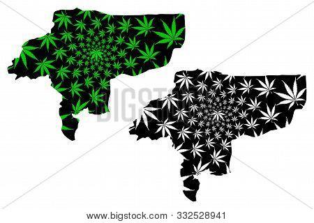 Isfahan Province (provinces Of Iran, Islamic Republic Of Iran, Persia) Map Is Designed Cannabis Leaf