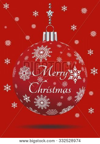 Christmas Bauble Vector With Snowflakes, Silver Hanger And Christmas Greetings On Red Background. Us