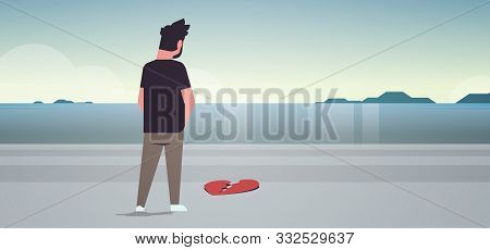 Heartbroken Sad Man In Depression Life Crisis Break Up Divorce Concept Rear View Guy Standing On Bea