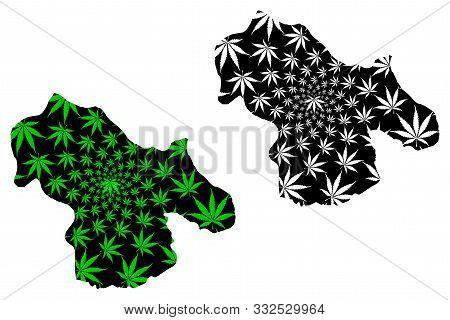 Kohgiluyeh And Boyer-ahmad Province (islamic Republic Of Iran, Persia) Map Is Designed Cannabis Leaf