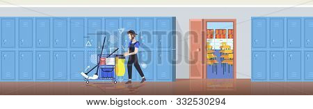 Man Cleaner Pushing Trolley Cart With Supplies Male Janitor In Uniform Cleaning Service Concept Mode