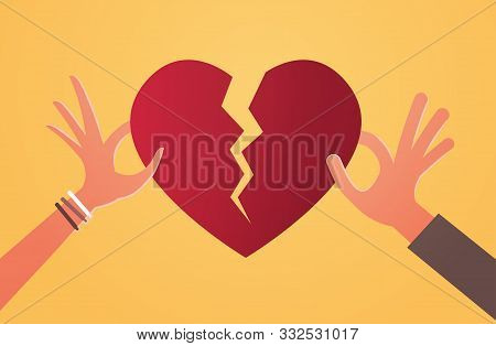 Woman Man Hands Holding Pieces Of Broken Heart Depression Life Crisis Break Up Divorce Betrayal Conc