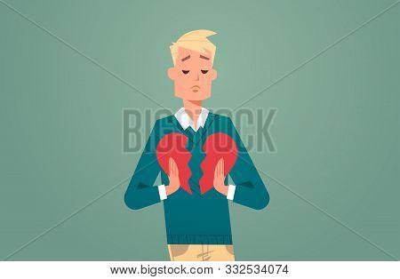 Heartbroken Man In Depression Life Crisis Break Up Divorce Betrayal Concept Sad Guy Holding Broken H