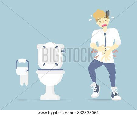Man Having Stomach Ache, Needing To Urinate, Holding His Pee, Poo, Bladder, Suffering From Diarrhea