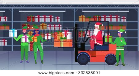 santa claus driving forklift truck elves holding colorful gift present boxes merry christmas happy new year celebration concept modern warehouse interior horizontal full length vector illustration poster