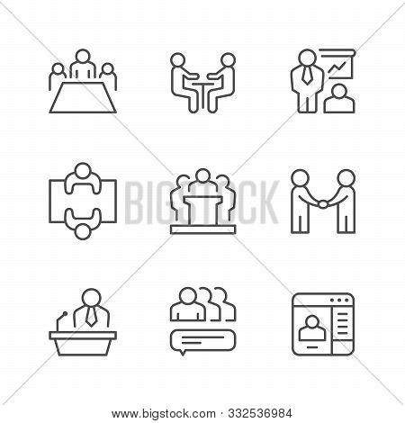 Set Line Icons Of Meeting Isolated On White. Company Teamwork, Business Presentation, Partner Handsh