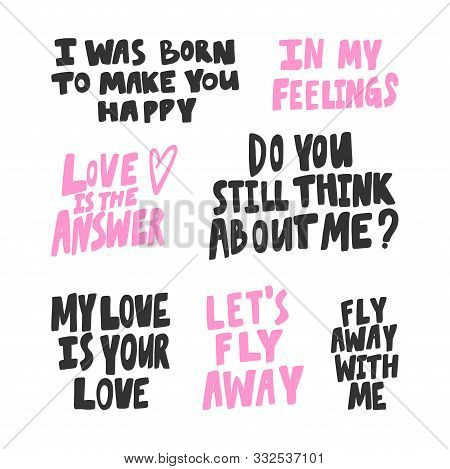Born, Happy, Answer, Love, Fly, Away, Think, About, Feelings, Feel. Vector Hand Drawn Illustration C