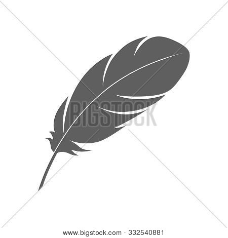 Feather Sign Or A Symbol. Isolated Abstract Icon On White Background. Vector Illustration