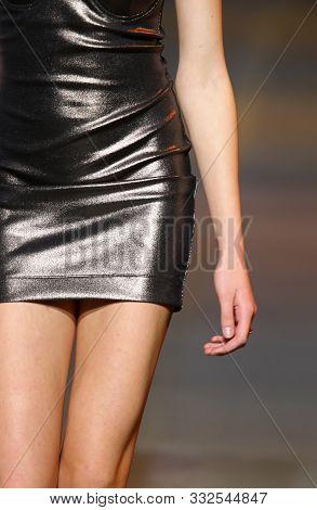 Fashion Show. Catwalk Event. Unrecognisable Model. Close-up Clothes Details