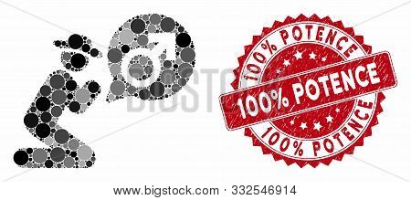 Collage Gentleman Pray For Potence And Rubber Stamp Seal With 100 Percent Potence Phrase. Mosaic Vec