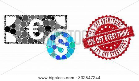 Mosaic Cash And Grunge Stamp Seal With 15 Percent Off Everything Phrase. Mosaic Vector Is Created Wi