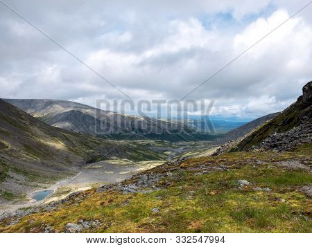 Mountain Valley In The Khibiny. Murmansk Region, Located In The Central Part Of The Kola Peninsula.