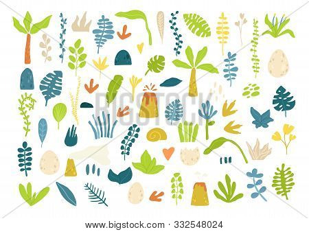 Hand Drawn Set Of Tropical Leaves Isolated From Background. Jungle Flora